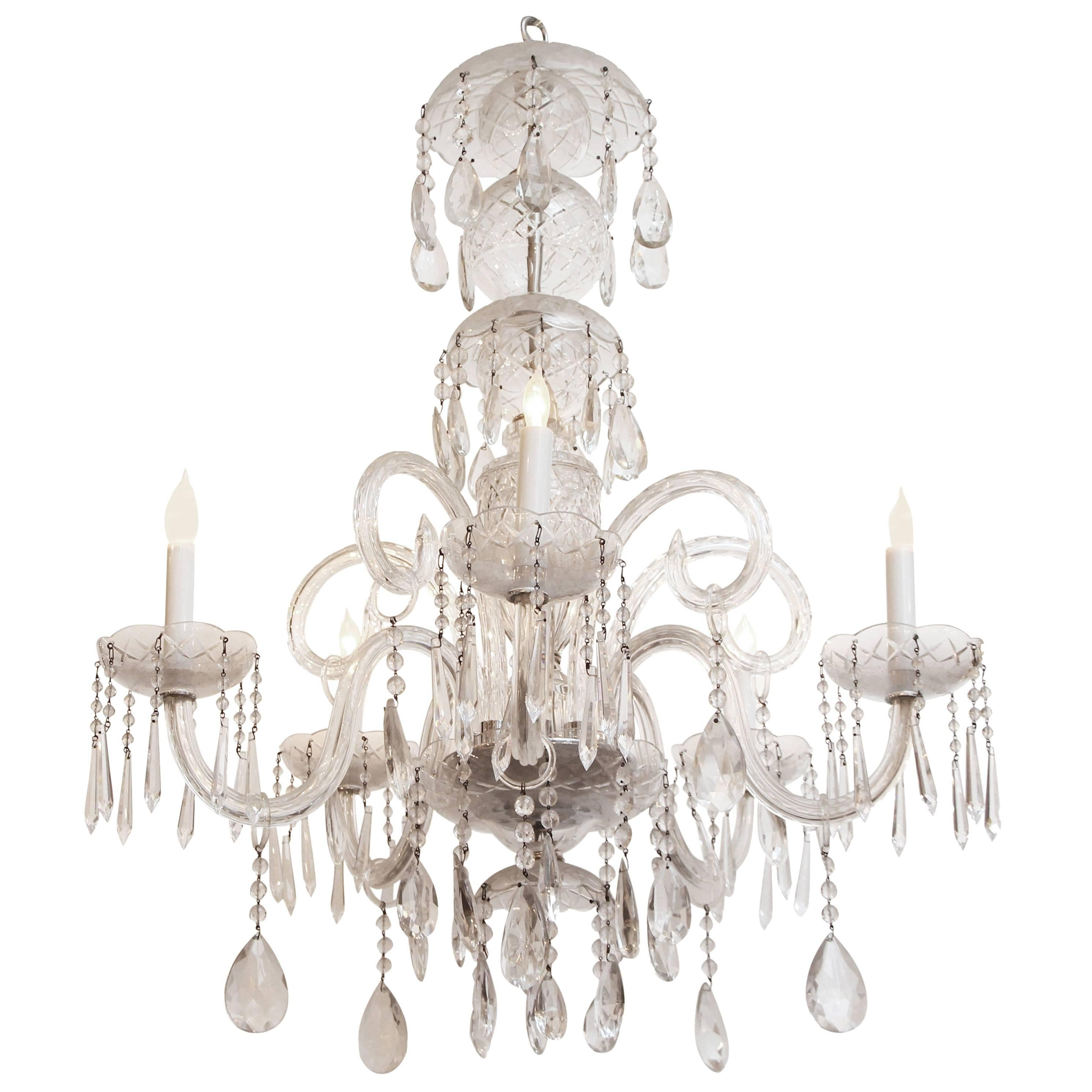 1940s Waterford Marie Therese Style Crystal Chandelier with Five Lights