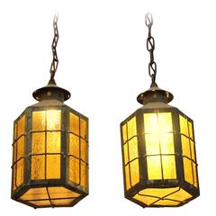 1930s Pair of Outdoor Copper Pendant Lanterns with Textured Amber Glass