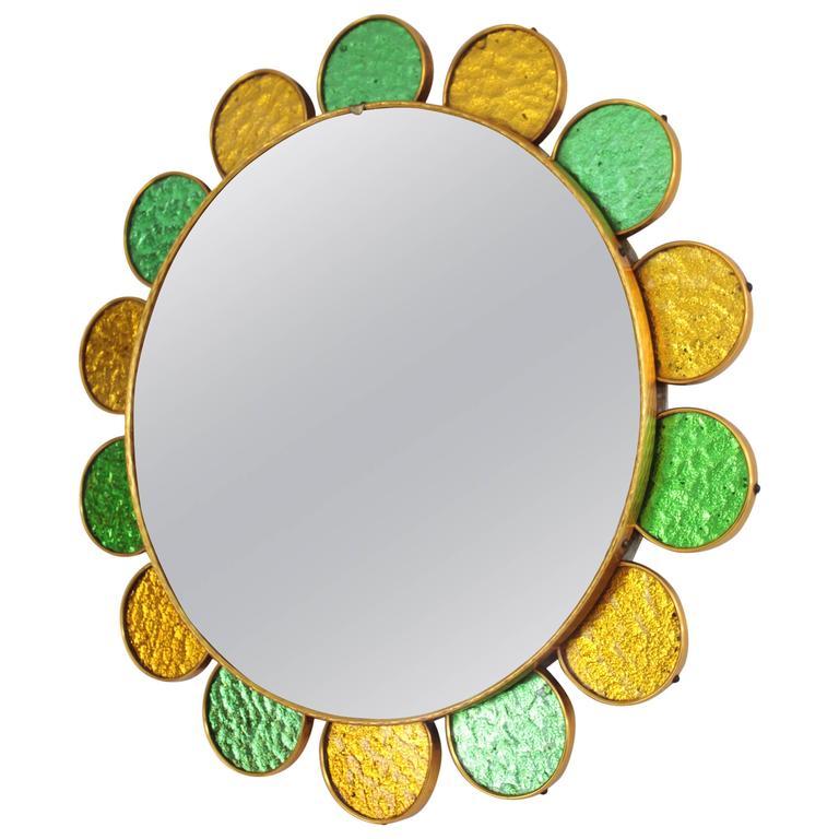 Mid-Century Modern Orange and Green Glass Petals Flower Burst Mirror