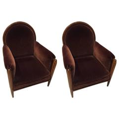 Pair of French Art Deco Club Chairs Carved Front Legs