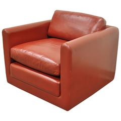 Red Leather Cube Club or Lounge Chair After Harvey Probber on Rolling Casters