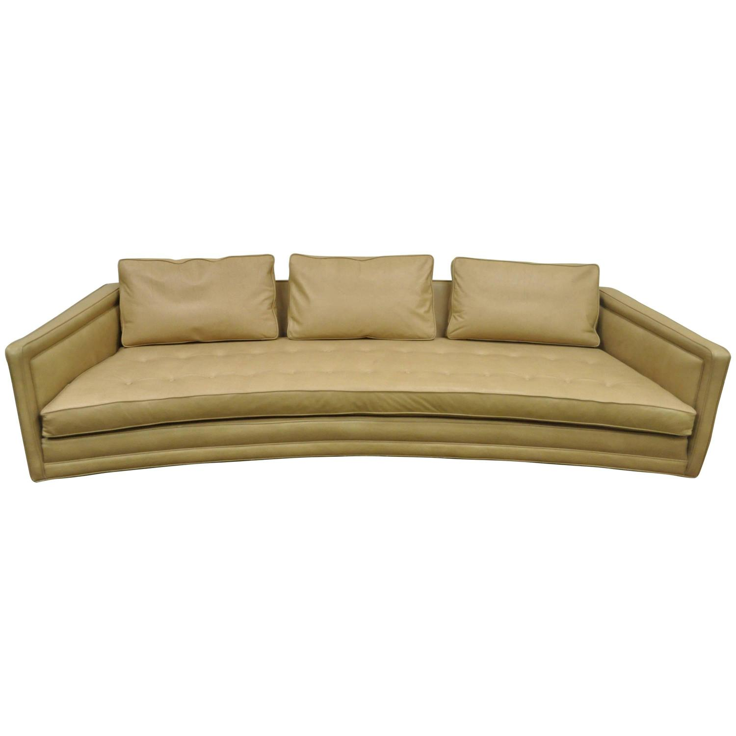 Long curved harvey probber button tufted leather mid for Mid century modern sofas