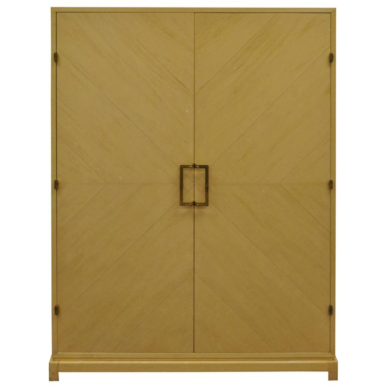Tommi Parzinger for Parzinger Originals Bleached Elm Armoire or Wardrobe Cabinet