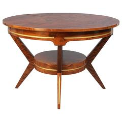 Walnut Mid-Century Modern Dining Table with Painted Gold Details