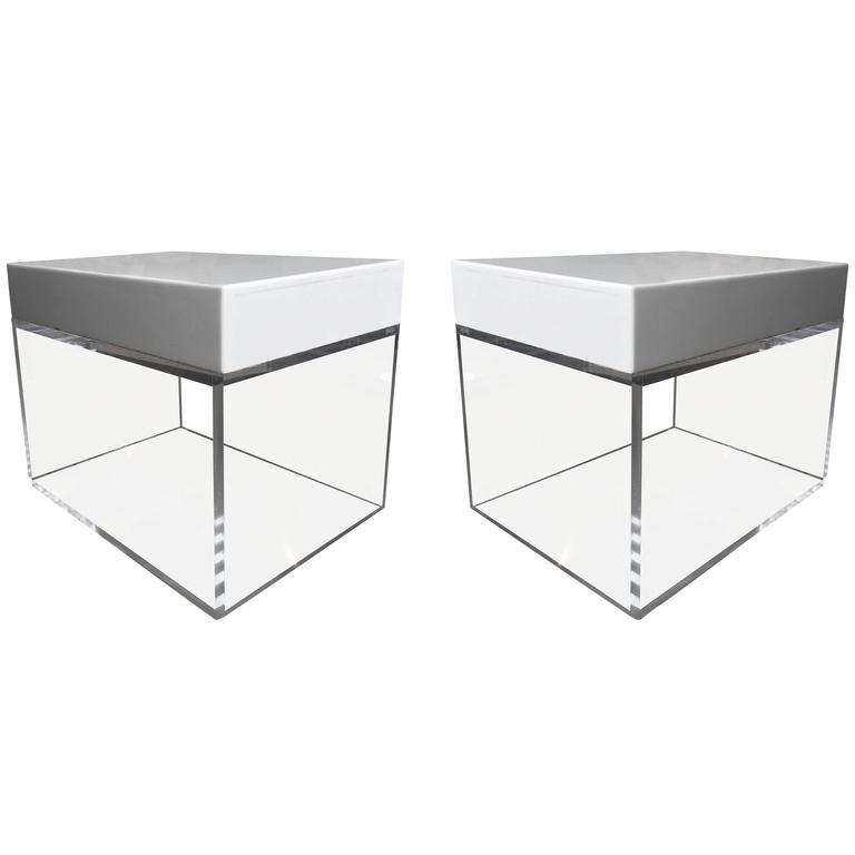 Stunning Side Tables, Benches in Lucite and Corian by Cain Modern
