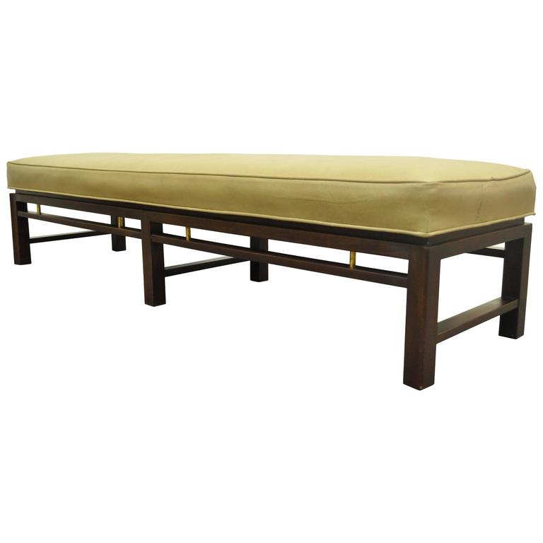 Mid-Century Modern Edward Wormley for Dunbar Leather Upholstered Bench
