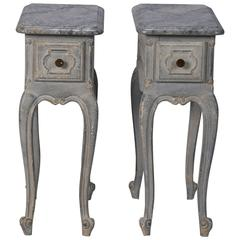 Pair Small French One Drawer Blue Side Tables