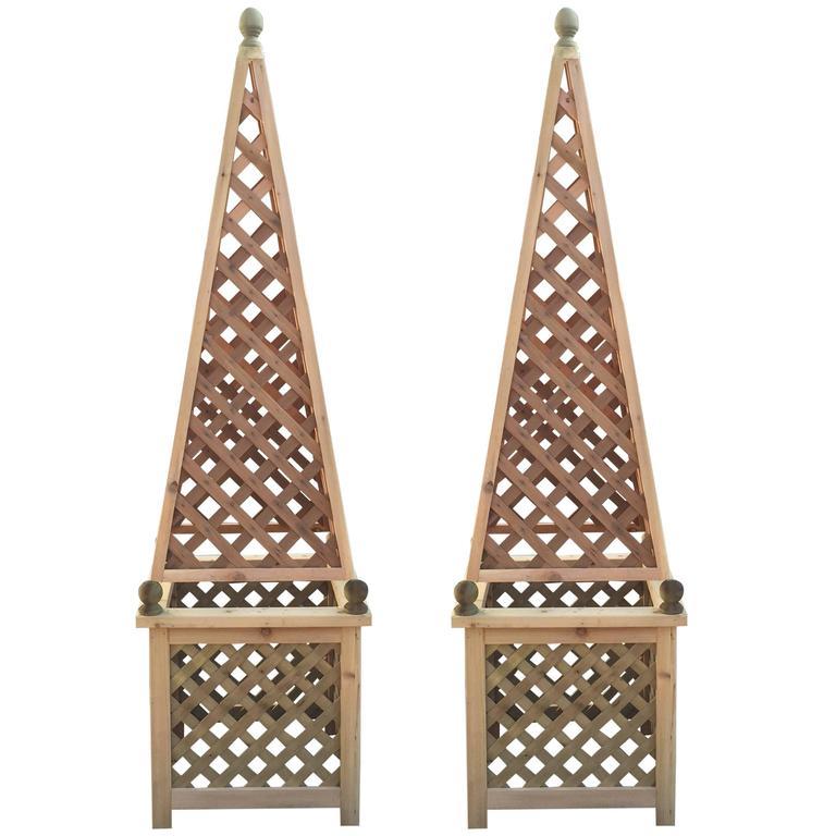 Pair Of Monumental Decorative Cedar Garden Obelisks For Sale