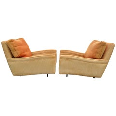 Pair of Mid-Century Modern Probber Upholstered Sculpted Club Lounge Chairs