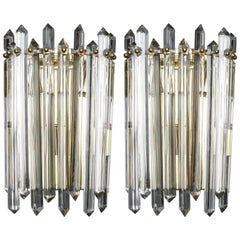 Pair Midcentury Sconces with Brass and Crystal Spears