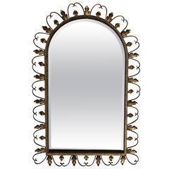 Gold Leaf Round Top Beveled Glass Mirror
