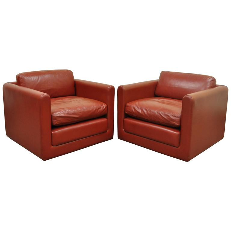 Pair of Red Leather Cube Club or Lounge Chairs after Harvey Probber on Casters