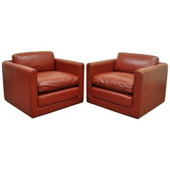 Pair of Red Leather Cube Club or Lounge Chairs on Casters