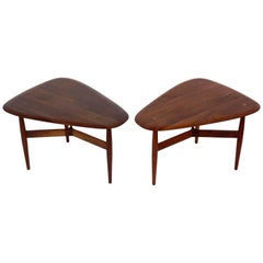 Danish Modern Teak Side Tables by Illum Wikkelso and Johannes Aasbjerg