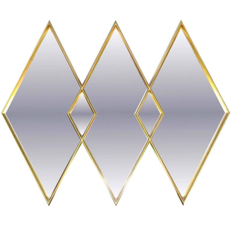 Labarge Gilded Diamond Trio Wall Mirror For Sale At 1stdibs