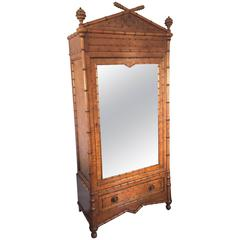 19th Century Faux Bamboo Mirrored Armoire