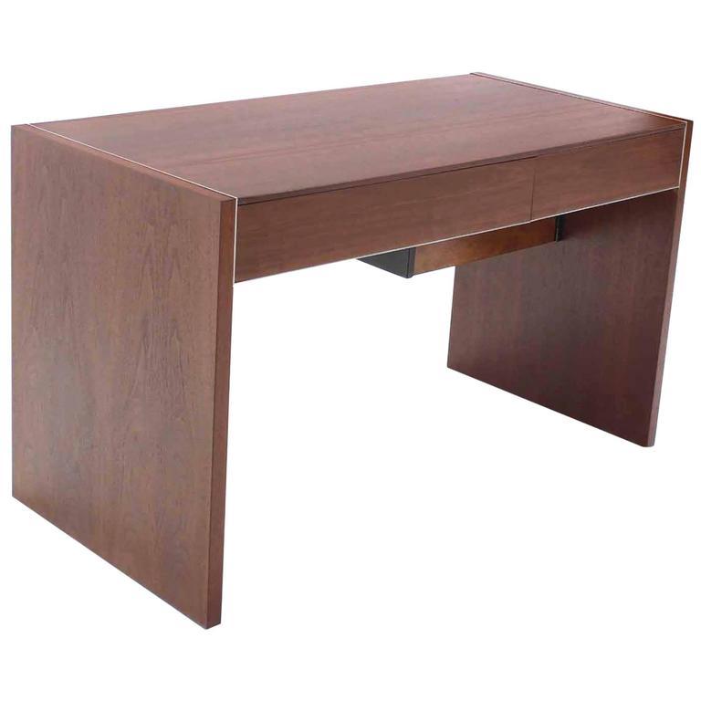 Hidden File Drawer Glenn California Mid Century Modern Walnut Writing Table Desk