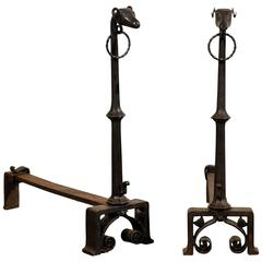 Pair of 19th Century Figural Andirons, Rams