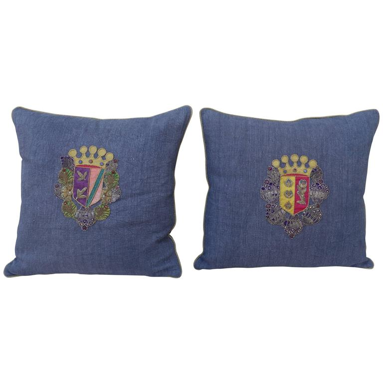Pair of 19th Century Coat of Arm Pillows For Sale