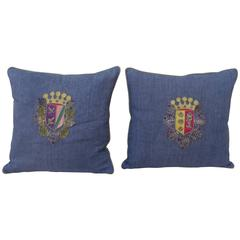 Pair of 19th Century Coat of Arm Pillows