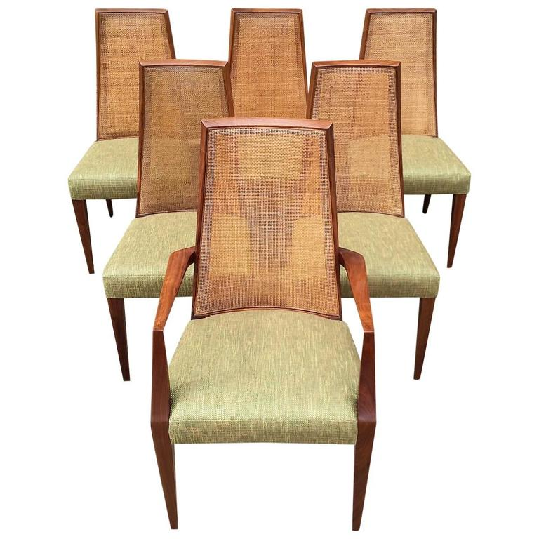 Mid Century Modern Tall Cane Back Dining Chairs By Grosfeld House 1