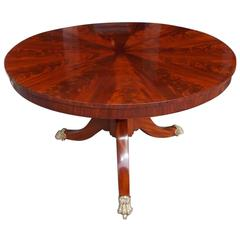 American Crotch Mahogany Pie Shaped Tilt Top Center Table,  NY.  Circa 1820