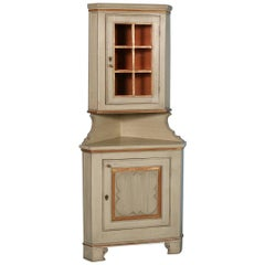 Antique Painted Corner Cabinet from Hungary, circa 1880