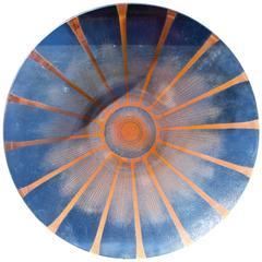 "Maurice Heaton 17 3/4"" Diameter Fused Enamel on Glass ""Sunburst"" Deco Charger"