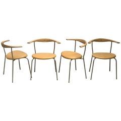 Set of Four Stackable Bull Horn Chairs, Model PP701 by Hans Wegner