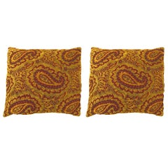 Set of Two Coordinating Vintage Tapestry Pillows with Large Paisley Designs