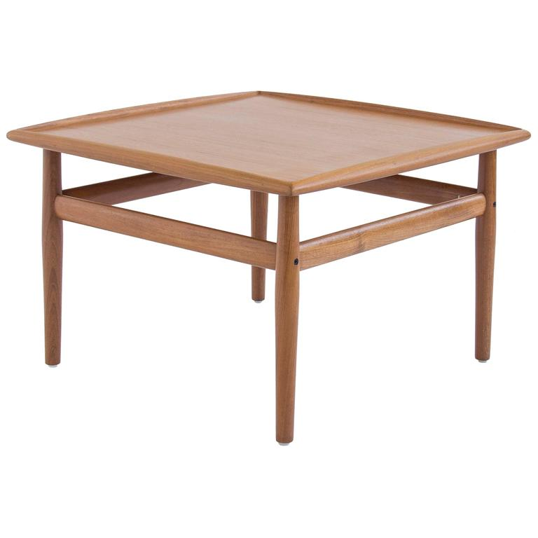 Danish Modern Teak Square Side Coffee Table By Grete Jalk At 1stdibs
