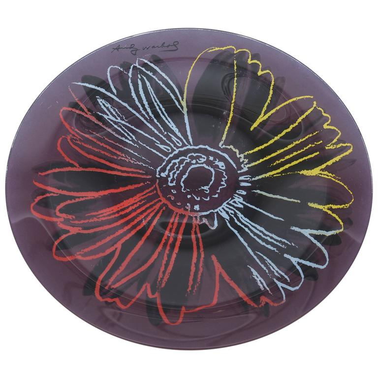 andy warhol glass abstract flower plate serving piece for sale at 1stdibs. Black Bedroom Furniture Sets. Home Design Ideas