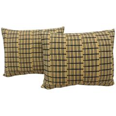 Pair of Yellow and Indigo African Woven Bolster Decorative Pillows
