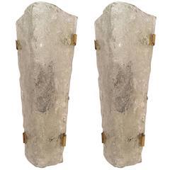 Pair of Large Venetian Murano Glass 1950s Mid-Century Sconces