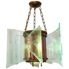 Curved Glass Art & Crafts Style Chandelier