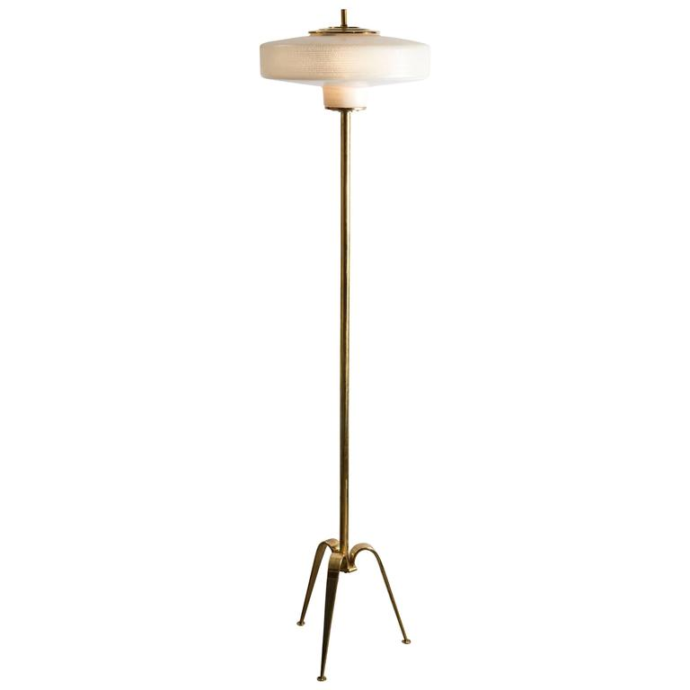 Midcentury Standing Lamp Brass With Tripod Base For Sale
