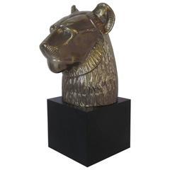 Chapman Brass Cat or Lion Head Sculpture