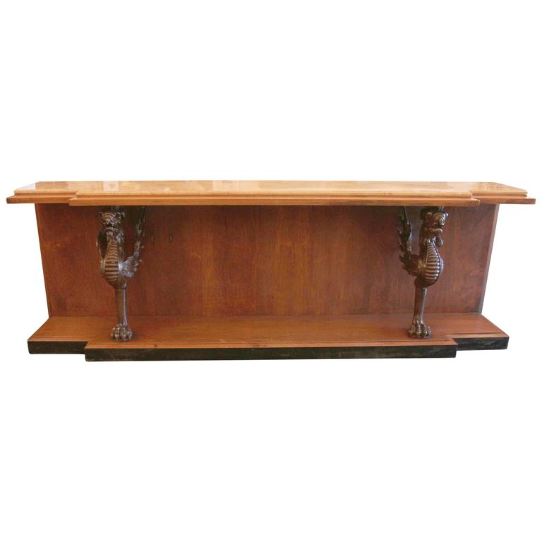 1980s Walnut Console Table with Marble Top and Antique Carved Wood Griffins For Sale