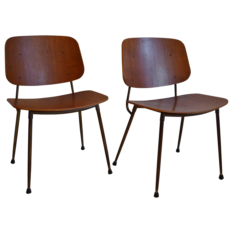 Pair of Børge Mogensen Teak on Steel Frame Side Chairs, Denmark, 1950's