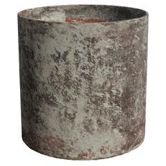 French Fiber Cement Cylinder Planter with Residual Paint by Willy Guhl