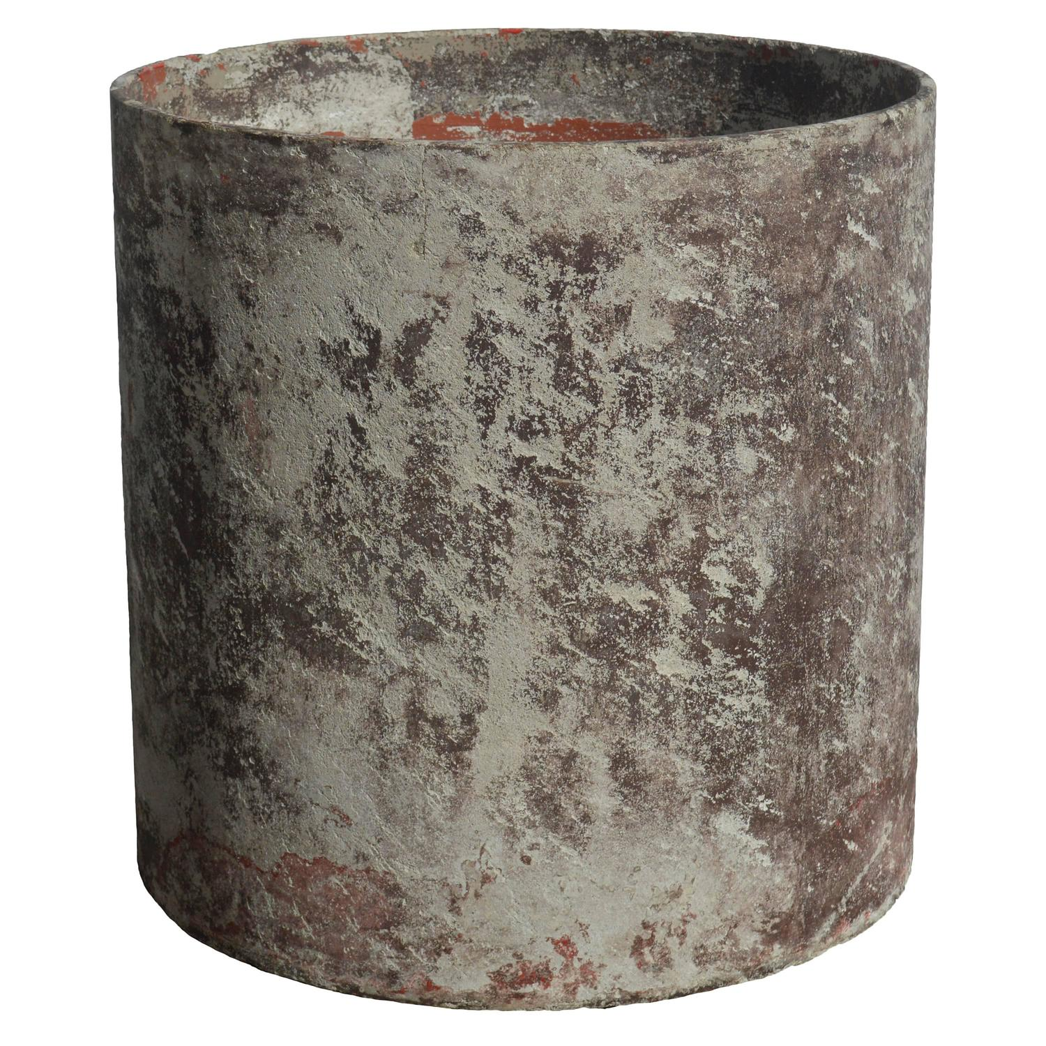 French Fiber Cement Cylinder Planter with Residual Paint by Willy Guhl ...
