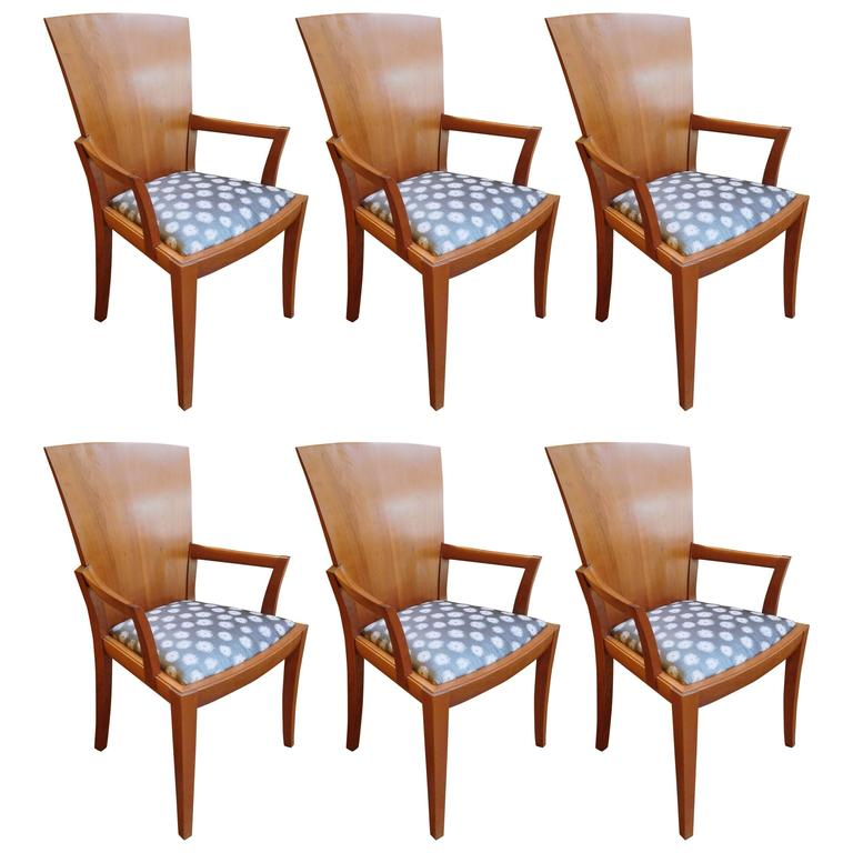 Six William Walker Modern Fan Back Dining Room Chairs Circa 1992 For Sale