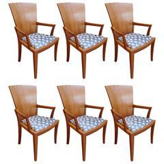 Six William Walker Modern Fan Back Dining Room Chairs, circa 1992