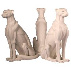 Three Faux Limestone  Cheetah Sculptures