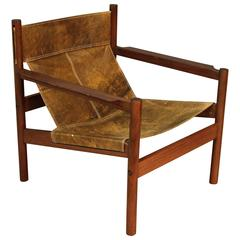 Michel Arnoult Distressed Leather Sling Back Chair