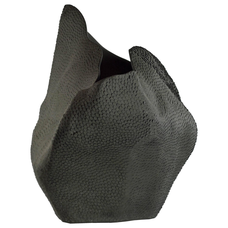 black pangolin textured vase by gilles caffier at stdibs -