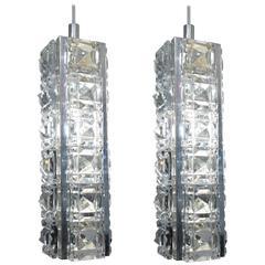 Pair of Jeweled Austrian Pendant Lights