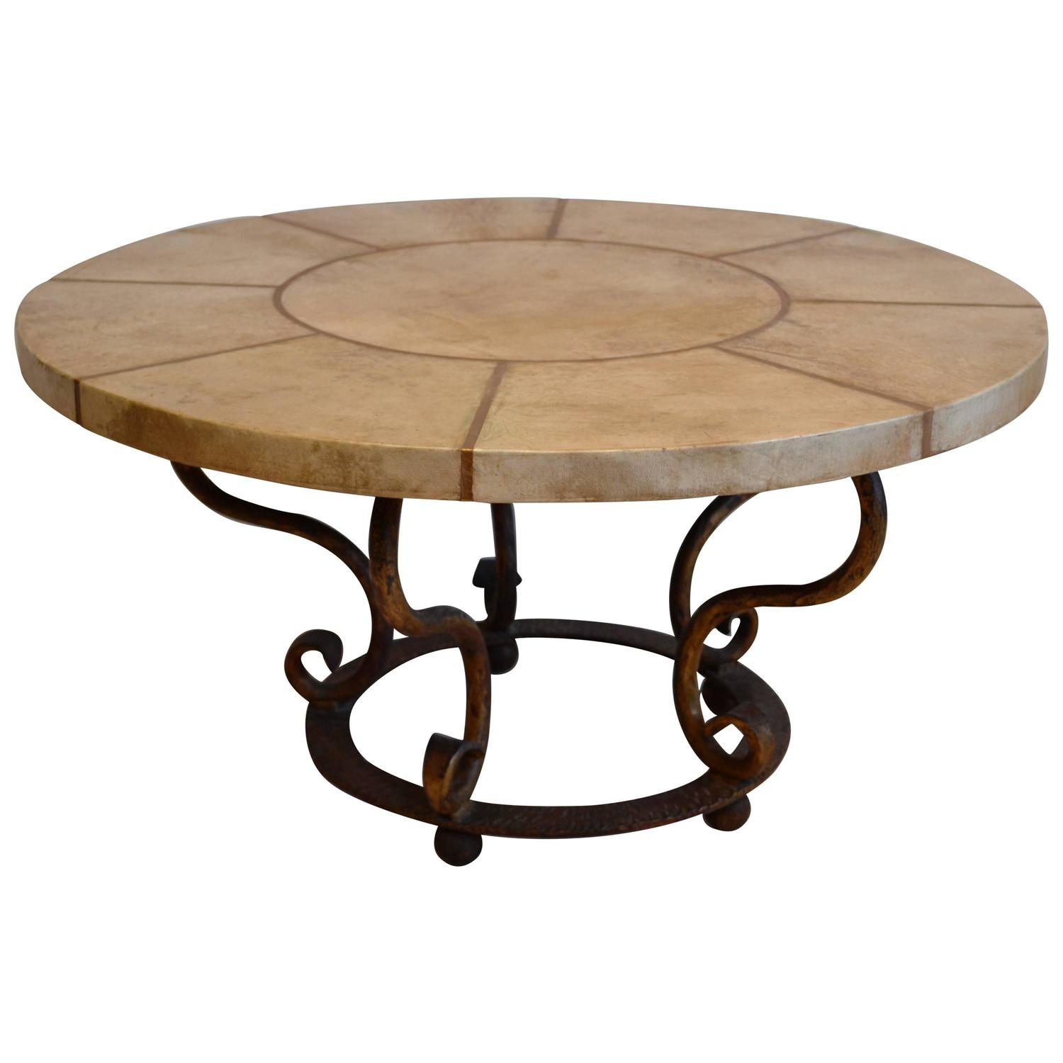 round goatskin and gilded iron inlay coffee table france 1930s for