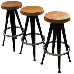 Set of Three Stools After Jean Prouvé