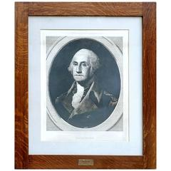 Large Impressive Framed Engraving of George Washington, 1880
